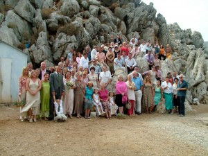 Wedding on beach in Symi, Dodecanese Greece.