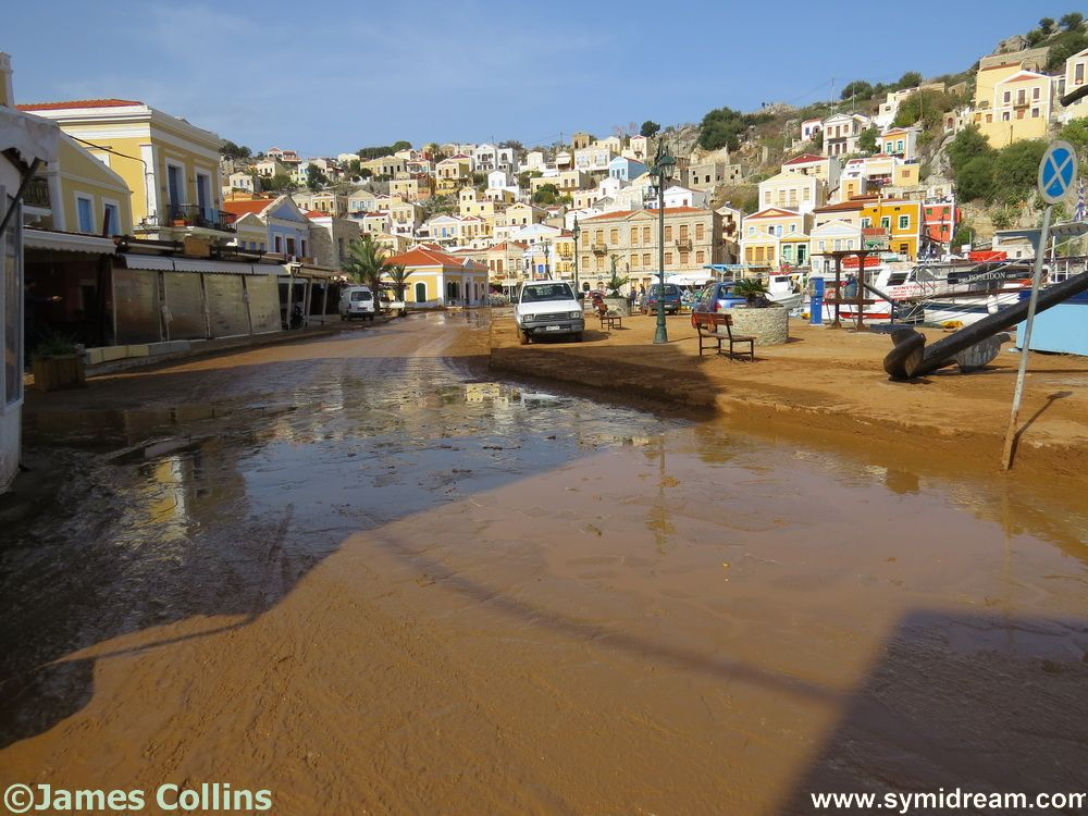 At this part of the harbour it is mainly mud and water to be dealt with now - and the aftermath