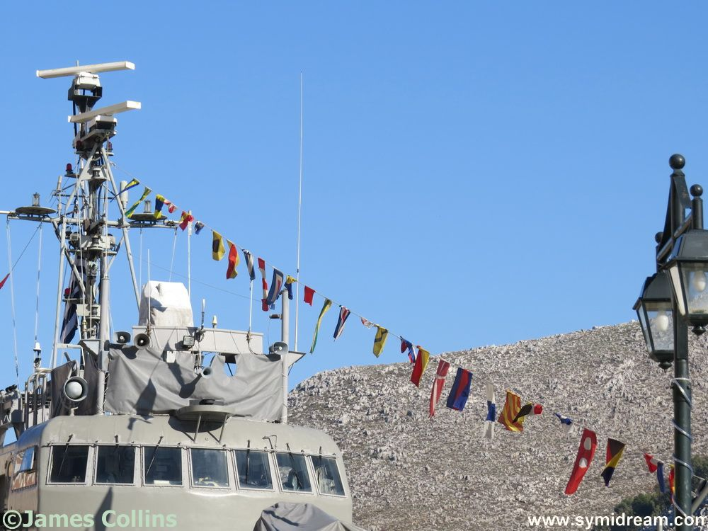 Celebration flags on the patrol boat