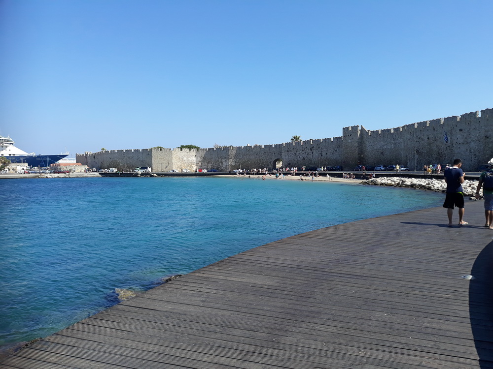 The walk around Rhodes harbours has been made much safer and more pleasant with a board-walk.