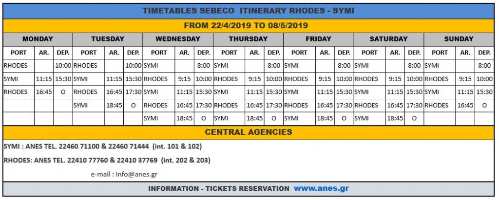Anes timetable