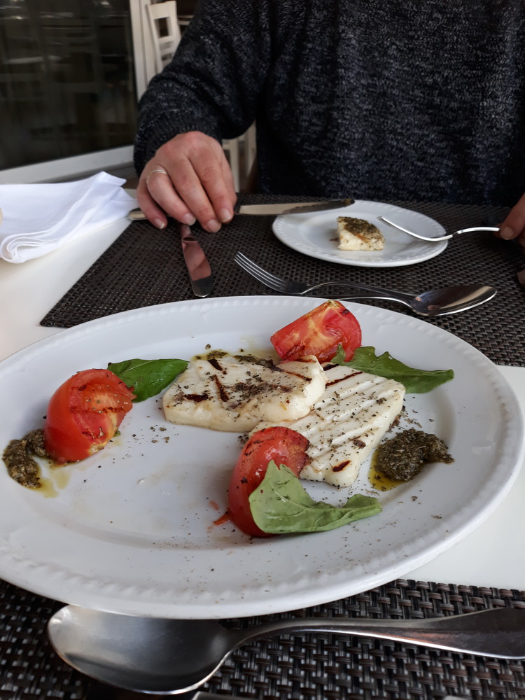 grilled halumi and mint pesto at the Plaza