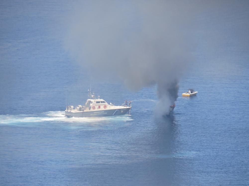 The coastguard attend the boat fire