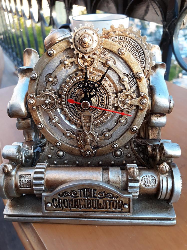 A steampunk birthday present (a clock in a miniature time machnie)